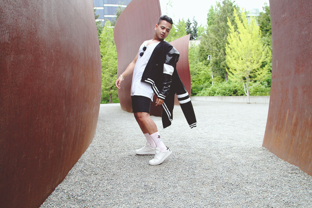 Style Influencer in Vancouver BC, A Little Bomber And Sweatshirt.